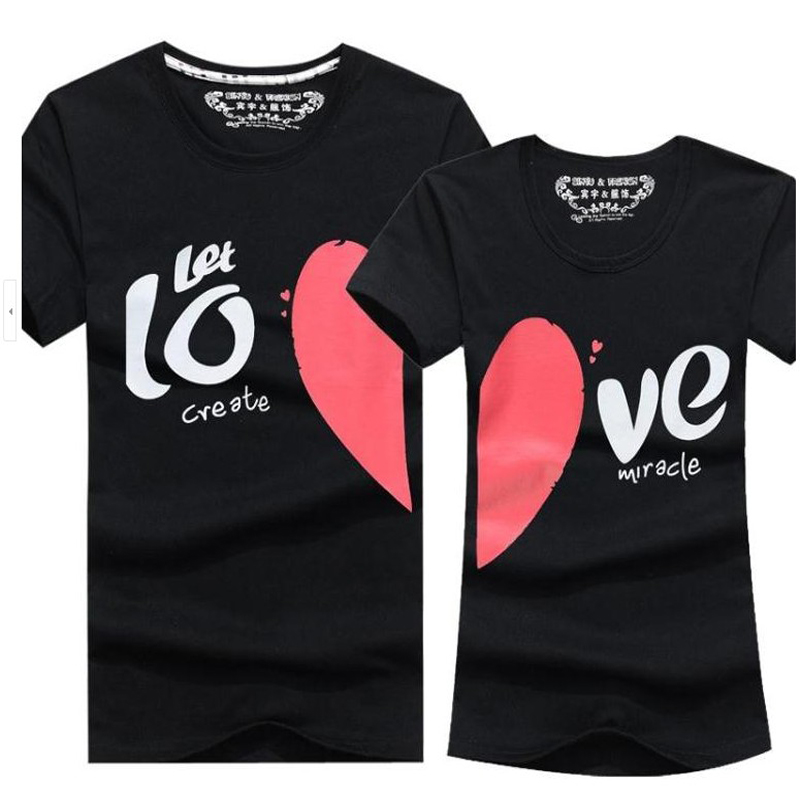 Couple Clothes Men & Women Heart LOVE Print T-Shirts Cotton Short Sleeve Lovers T Shirt Couples Camisetas Summer Unisex Tops  -  men left women right store