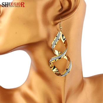 Brand long earrings fully jewelled Rotating drop earrings for women gold silver plated love earings fashion SHEEGIOR Accessories