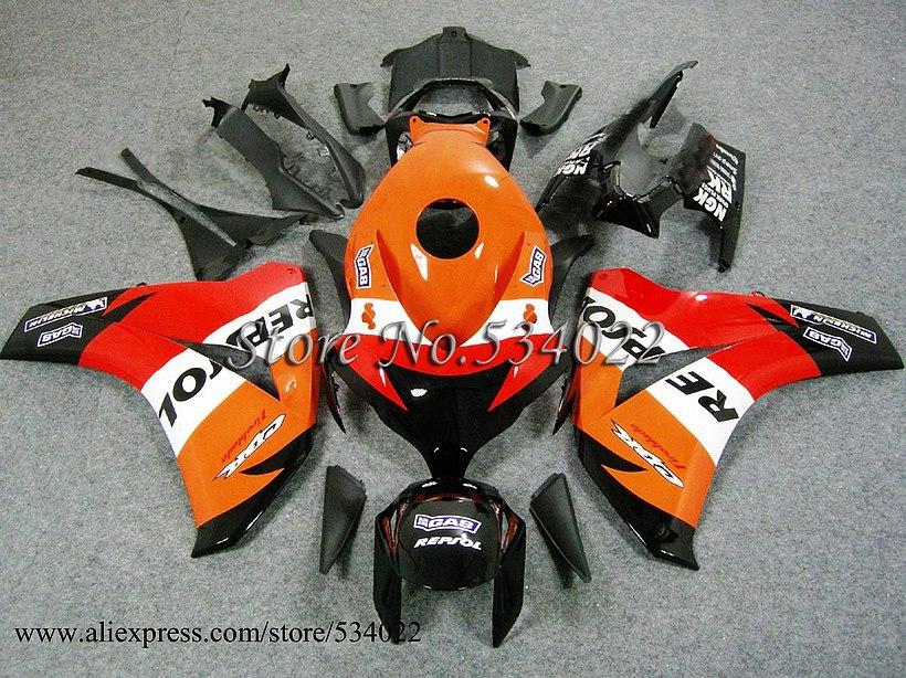 * CBR1000RR 2008 2009 2010 2011 For HONDA 08-11 ABS Plastic Bodywork Set CBR-1000RR REPSOL ORANGE CBR1000RR CBR1000 2008 2009 20(China (Mainland))