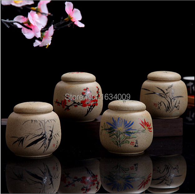 2014 tea canister boutique handmade coarse pottery Unglazed ceramic tea sets food cans free shipping(China (Mainland))
