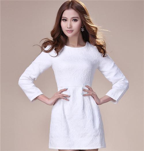 2014 Autumn Women's Dress Fashion Slim Paragraph Nine Points Sleeve Round Neck Print Dress Upscale(China (Mainland))