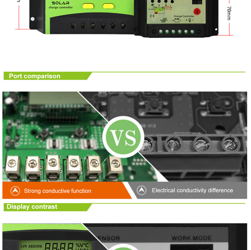 30a 12v 24v Auto Work Solar Charge Controller Pwm With Lcd Display Circuit Working Microcontroller 1 Built In Short Protection Open Over Load 2 Overcharge Undervoltage