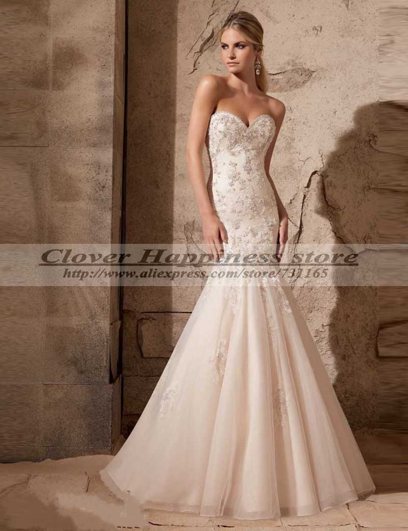 Vestido De Noiva Vintage Lace Mermaid Wedding Dresses Elegant Civil Wedding Dress 2015 Bridal