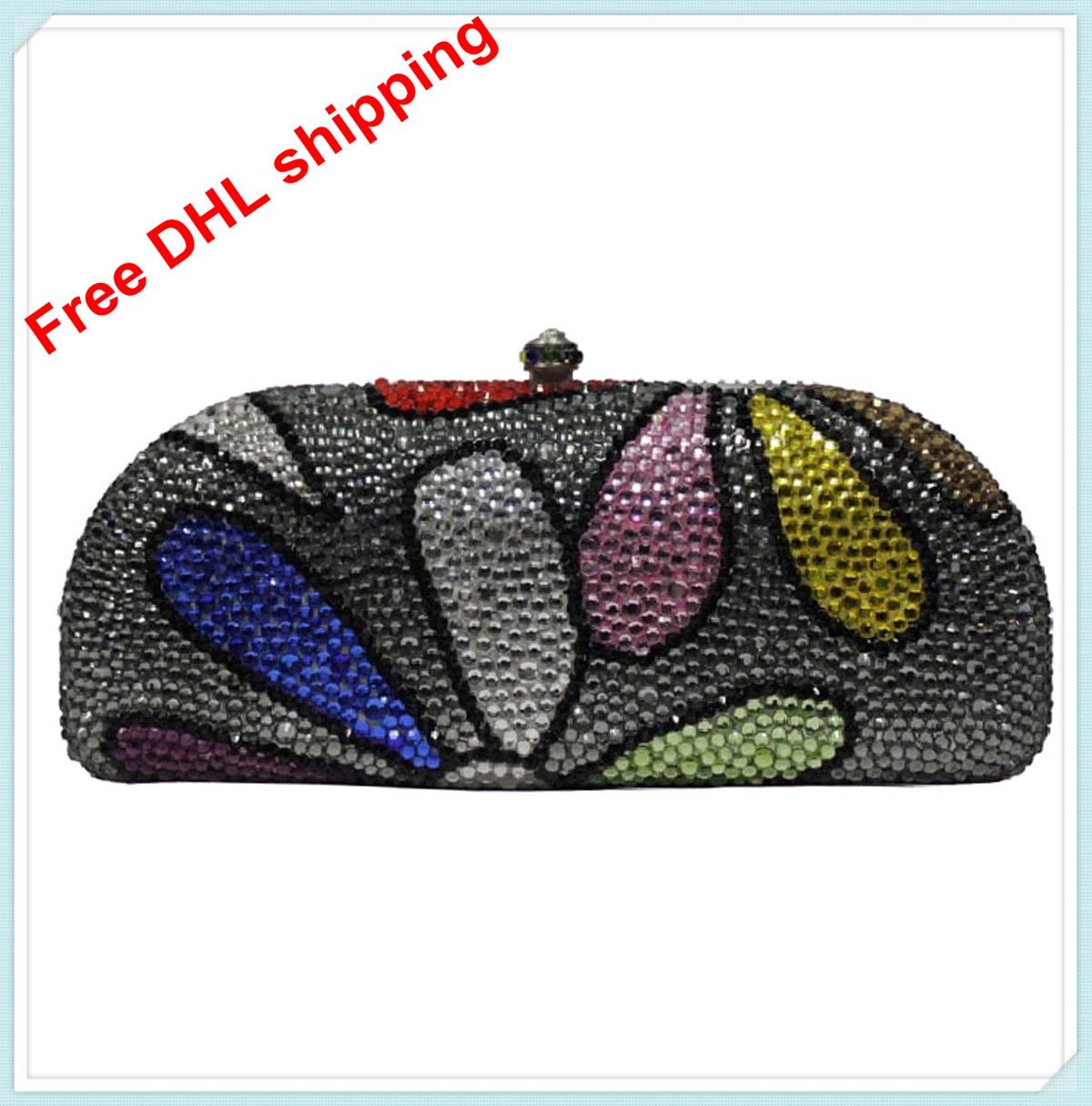 Здесь можно купить  2013 fashion bump color flowers luxury crystal pretty design clutch evening bag free shipping for woman  Камера и Сумки