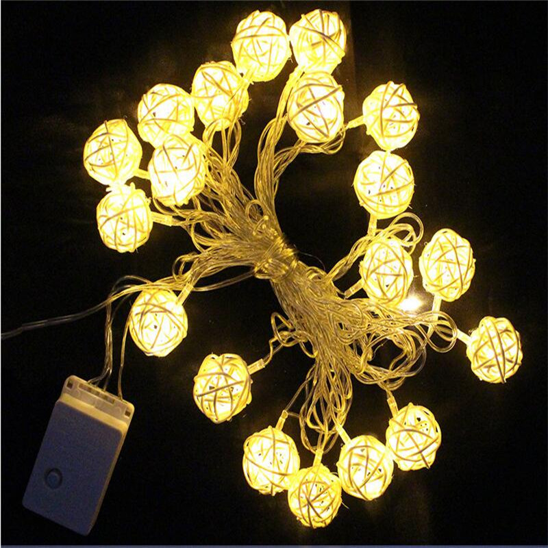 5m 20 Rattan Ball Led string light night warm Christmas Xmas lantern Wedding Garland decor curtain Decoration lights fairy lamps(China (Mainland))
