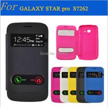 Чехол для Samsung Galaxy Star Pro S7262 полиуретан, задняя часть корпуса роскошь перевёрнутый вид окно кожа чехол чехол S7260
