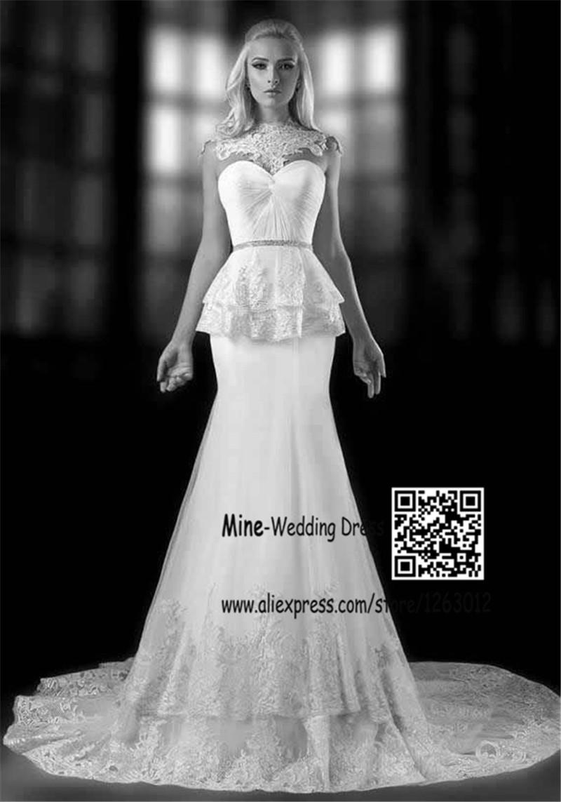 Гламурная рукавов белый русалка свадебные платья съемная высокая аппликация кружевной воротник формальный весна свадебные платья