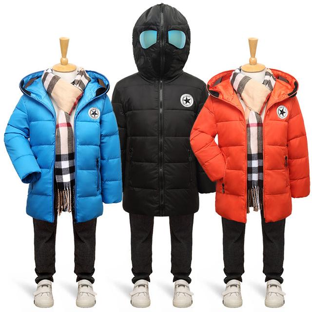 2016 Новых детских Зимняя Куртка с очки Мальчики Зимние Пальто дети Мальчики Девочки Теплый Толстый Капюшоном Пальто Для Подростковой Одежды jac