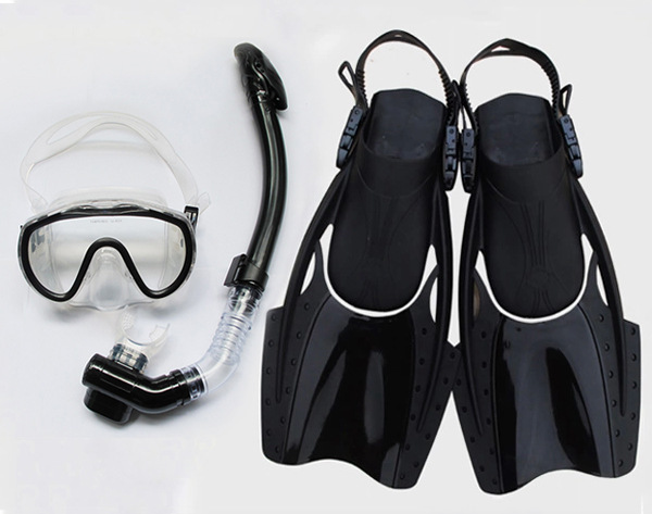 Sbart 3 Pieces One Dive Snorkel One Diving Mask 1 Flippers Swimming Spearfishing Glasses Scuba Diving Snorkel E(China (Mainland))