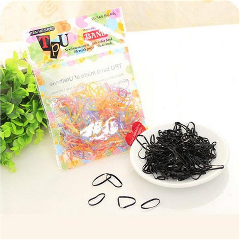 200PCS/PACK Trendy Transparent Rubber TPU Band black rainbow colours Women Girls Elastic Hair Band Tie Rope Hair Accessories(China (Mainland))