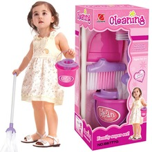 New Fun Cleaning Play Set Kids Girls Housekeeping Pink Sweep Educational Toy Cleaning Tool Kit Children Kid Gift GirlsToys(China (Mainland))