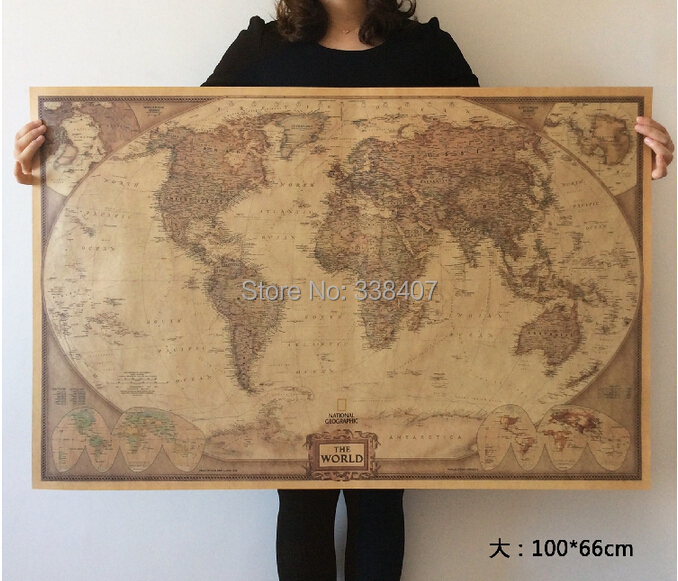 Large size english world map home decor wallpaper kraft for World home decor