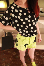 New Womens Summer Bird Print Heart Design Geometric Polka Dot Cute Loose Chiffon Short Sleeve Top