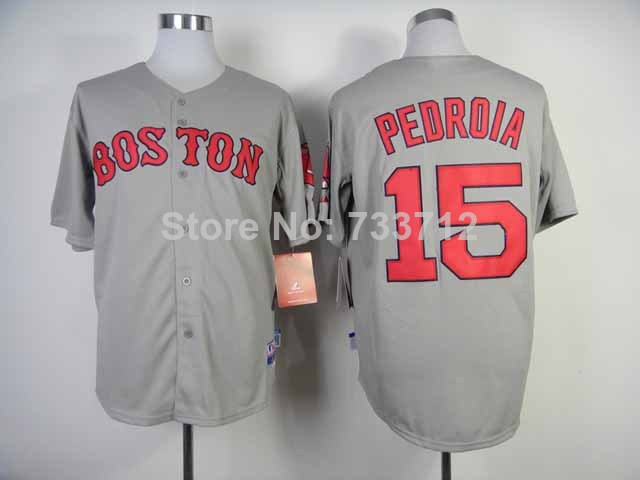 New Top quality Fast Free shipping,2014 Dustin Pedroia 15# Boston Red Sox gray white with red numbers B Strong patch baseball j(China (Mainland))