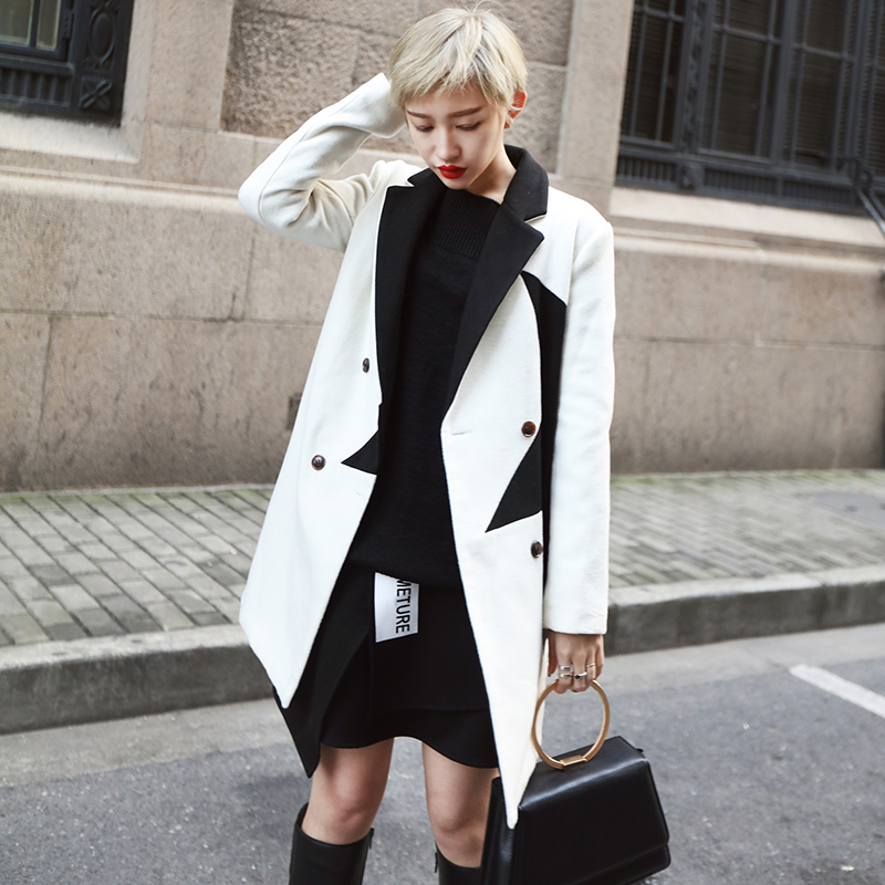 2016 New Women Fashion Large five-pointed star Splice Slim Fit Was thin In the long section Woolen coat Free shipping
