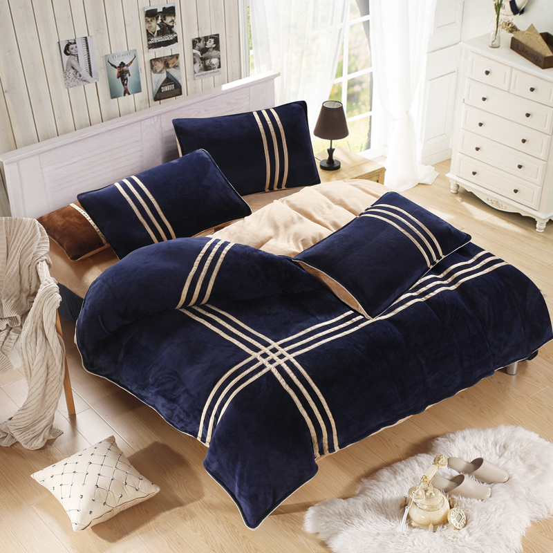 Winter warm striped quilt cover Coral velvet sports bedding sets duvet cover set Queen king size new bedding set(China (Mainland))