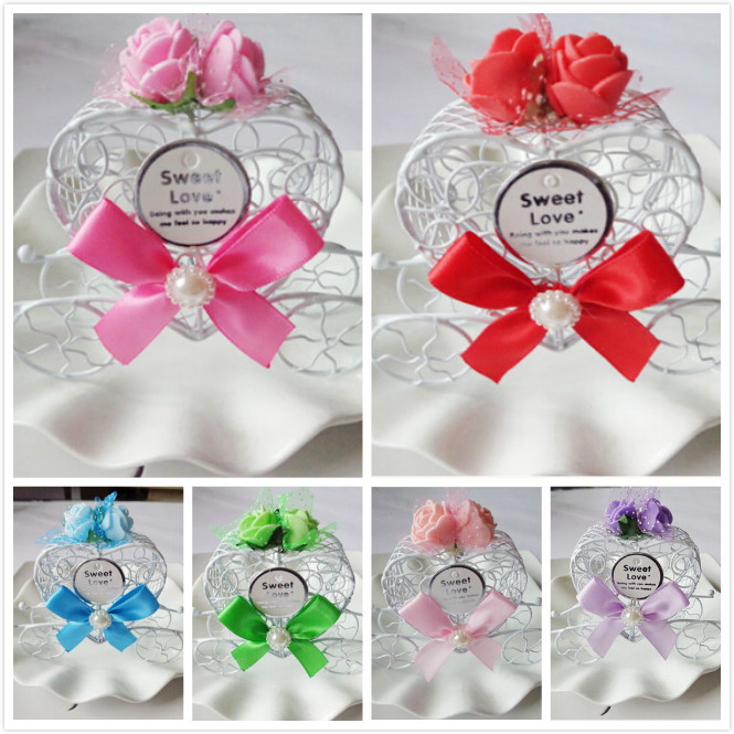 Royal Carriage Wedding Case Candy Heart Box Luxe Gift Favours Metal Rose Ribbon 6 Colors(China (Mainland))