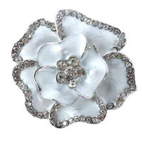 Retail Fashion Silver Plated Flower Brooch Pin  Ladies Girls Shining Brooch Wedding Bridal Party Brooch Pin