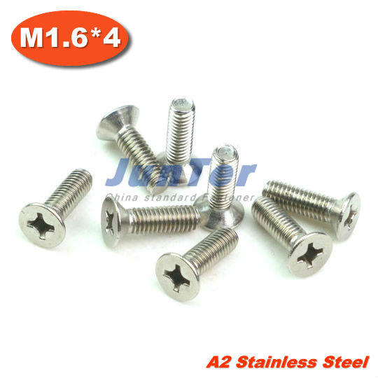 1000pcs/lot DIN965 M1.6*4mm Stainless Steel A2 Machine Phillips Flat Head (Cross recessed countersunk head screws) Screw<br><br>Aliexpress