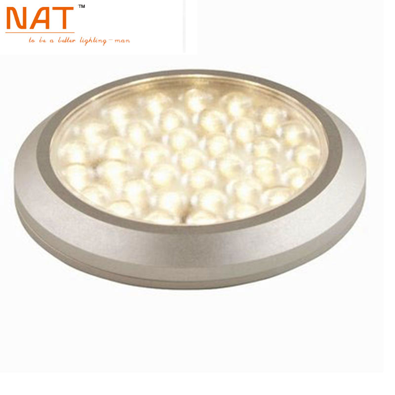 Indoor 70mm diameter Ultra-slim Round Surface LED Downlight 12V 3W aluminum Kitchen Under Cabinet Lighting 3W lamps (2pcs/Lot)(China (Mainland))