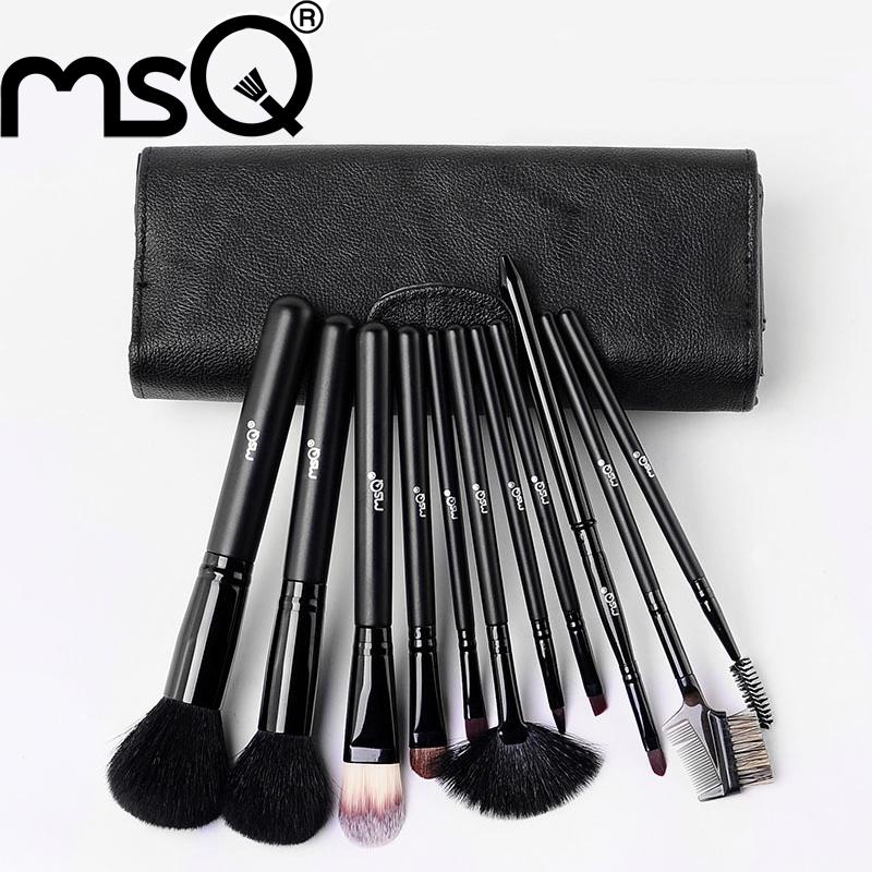 MSQ New Professional Goat Hair Black Makeup Brushes Set &amp;amp; Kits 11pcs Makeup Brushes For Face Makeup Tool Kit,Free Shipping<br><br>Aliexpress