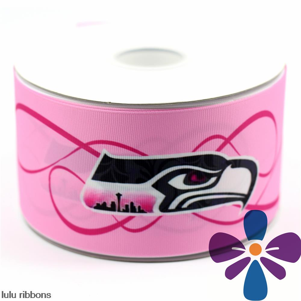 "3"" 75mm Pink Seahawks Printed Grosgrain Ribbon DIY Handmade Hair Accessories Clothing Webbing 50 Yards MD160615-22-4715(China (Mainland))"
