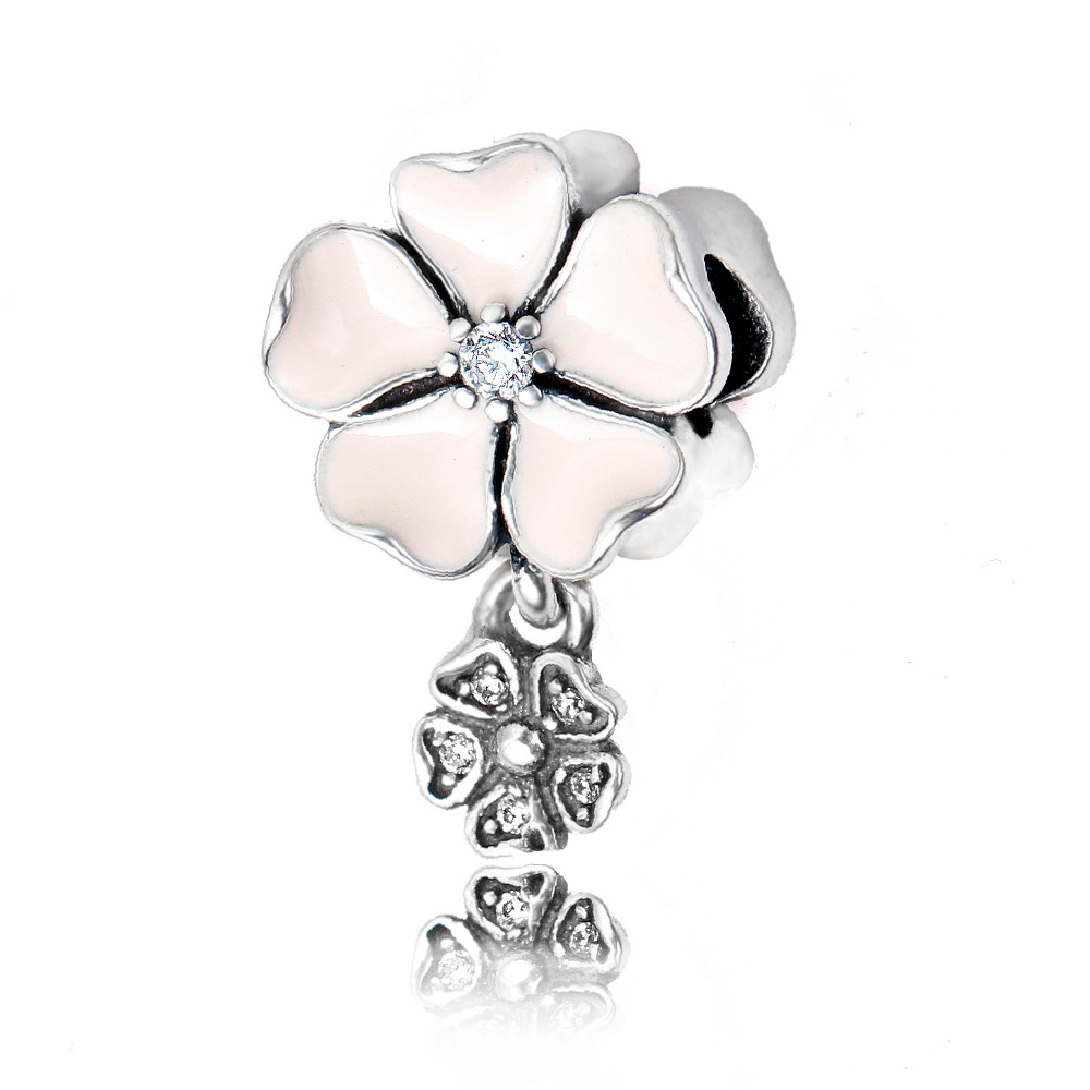 925 Sterling Silver Beads Pink Cherry Poetic Blooms Pendant Charm Bracelet Pendant for Jewelry making for Women Gift(China (Mainland))