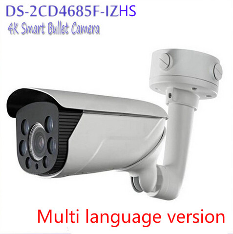 Free shipping multi language version DS-2CD4685F-IZHS 4K Smart Bullet Camera Motorized lens with Smart Focus up to 70m IR range(China (Mainland))