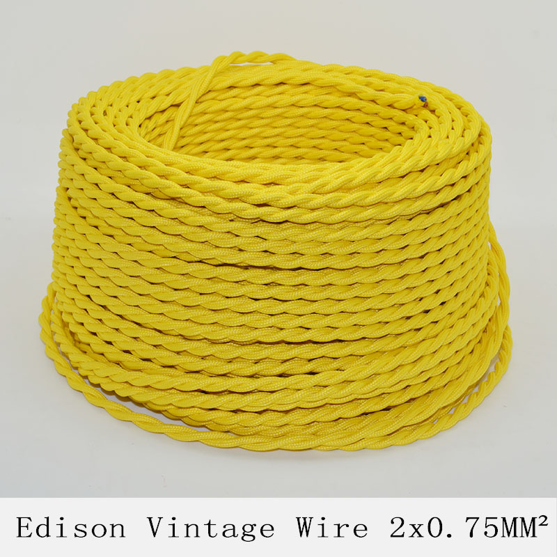 2*0.75mm2 Edison Vintage Lamp Cord Twisted Textile Wire Yellow Knitted Cloth Retro Electrical Wire Pendant Light Lamps Cable 10M(China (Mainland))