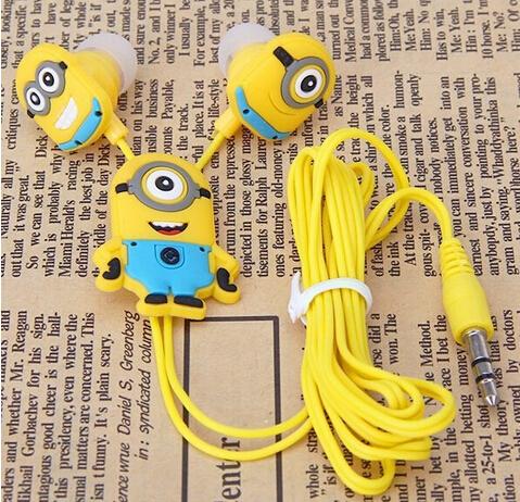 2015 New Boys Girls Cartoon Minions Cutest In Ear Earphone Headset noise cancelling 3 5mm Jack