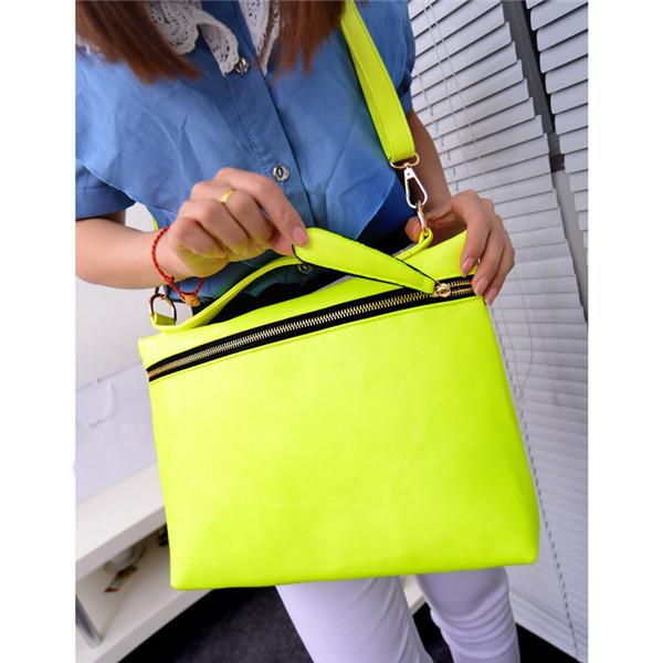 Fast Delivery ! Retro Postman Bag Bolsa Carteiro Women Bags Handbag Envelope Neon Bright Color PU Leather Messenger Oblique(China (Mainland))