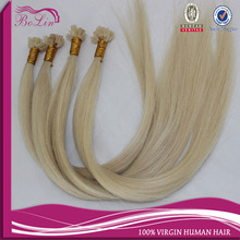12''-24'' Natural Remy Italian keratin Capsule prebonded  flat tip hair extensions blond white #613 1g,100s/back(China (Mainland))