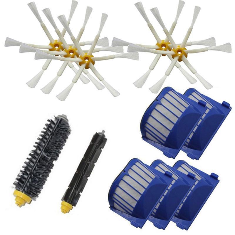 1 set Beater Brush+5 Aero Vac Filter+5 side Brush kit for iRobot Roomba 600 Series 600 610 620 625 630 650 660 replacement(China (Mainland))