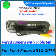 CCD HD car trunk handle reverse parking rear camera for Ford focus 2012 2013 2014 2015 both hatchback sedan for focus 2 focus 3(China (Mainland))