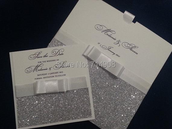 Glitter pocket wedding invitations cards top quality for Best quality wedding invitations online