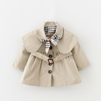 2015 new autumn winter fashion solid baby girls trench Coat casual children newborn windbreaker suit 0~2age toddler girl jackets