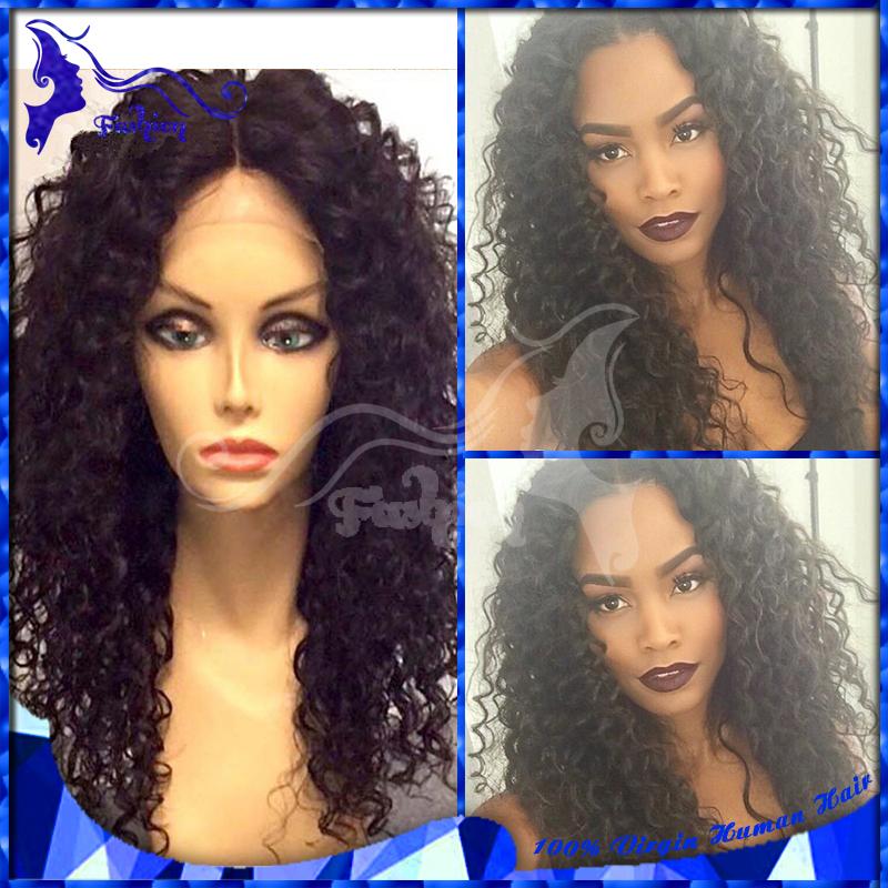 Фотография 7A Grade Virgin Brazilian Kinky Curly Full Lace Human Hair Wigs For Black Women Afro Kinky Curly Lace Front Wigs For Black Women