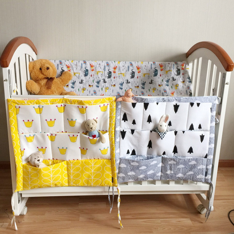 Crown Clouds Tree Fruits Baby Cot Bed Hanging Storage Bag Cotton Crib Organizer,Toy Diaper Pocket for Crib Bedding Set 52*58cm(China (Mainland))