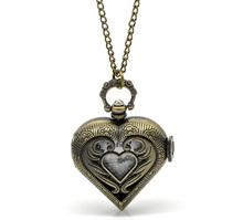"2016 Fashion Bronze Tone Necklace Quartz Heart Pocket Watch 84cm(33-1/8"")(China (Mainland))"