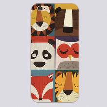 Luxury Retro lion bear panda owl fox and tiger puzzle Black Plastic cover phone cases for iphone 4 4s 5 5c 5s 6 6s plus case(China (Mainland))
