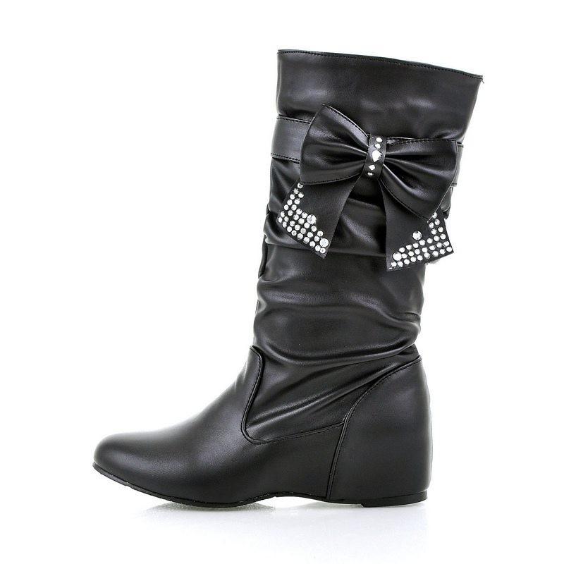 ซื้อ Plus Size34-43 2014 New Fashion Women Autumn Boots Rhinestone  High Boots platforms  Wedges Shoes Winter Snow Boots SBT1026