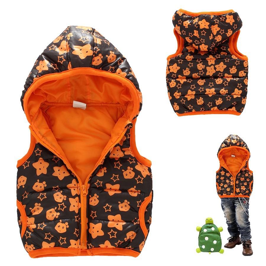 child vest male female child autumn and winter children's clothing 1 2 3 4 5 6 7 8 9 10T half zipper plus cotton fawn vest 1121(China (Mainland))