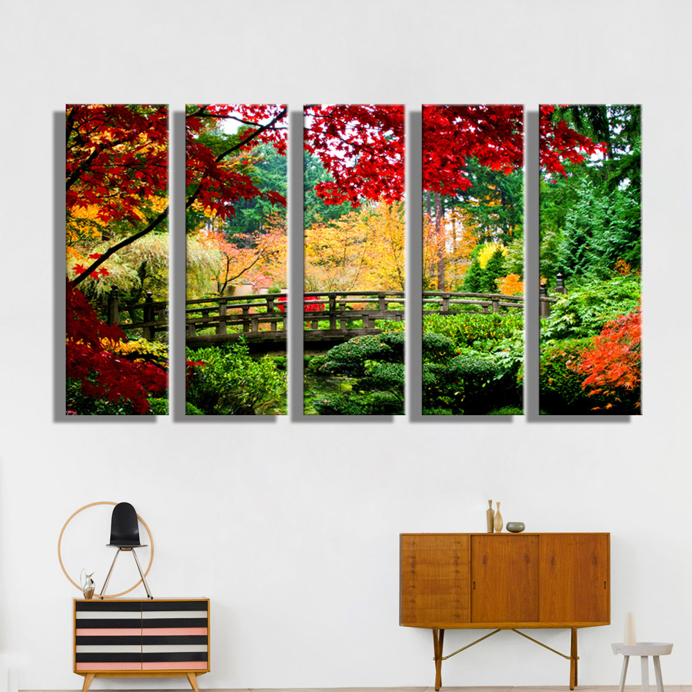 Oil painting canvas forest bridge landscape wall art for Art painting for home decoration