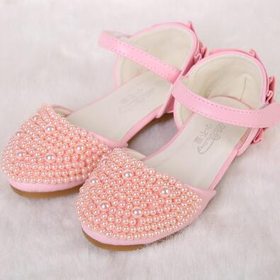 2016 new Shiny Pearls kids Wedding Party girls shoe Summer Sandals girls Princess Shoes children's high heels free shipping(China (Mainland))