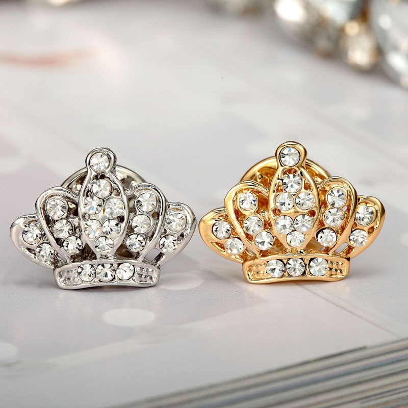 2 pcs/set(gold/silver) fashion Jewelry Rhinstone Crown Brooch King Crystal mini Brooches Pins collar clamp for Women(China (Mainland))