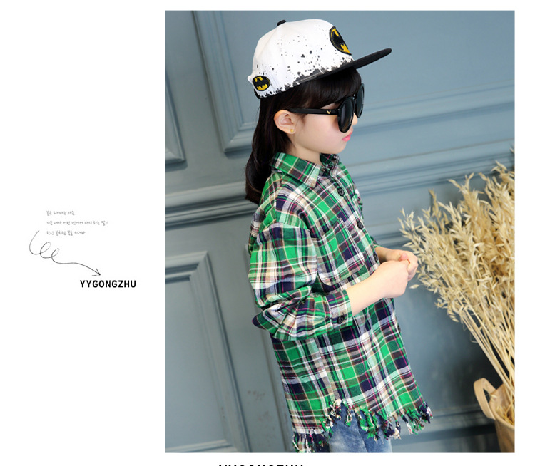 3-12Y, 2016 new spring girls blouse children plaid shirt kids cotton tassels shirt basic clothes