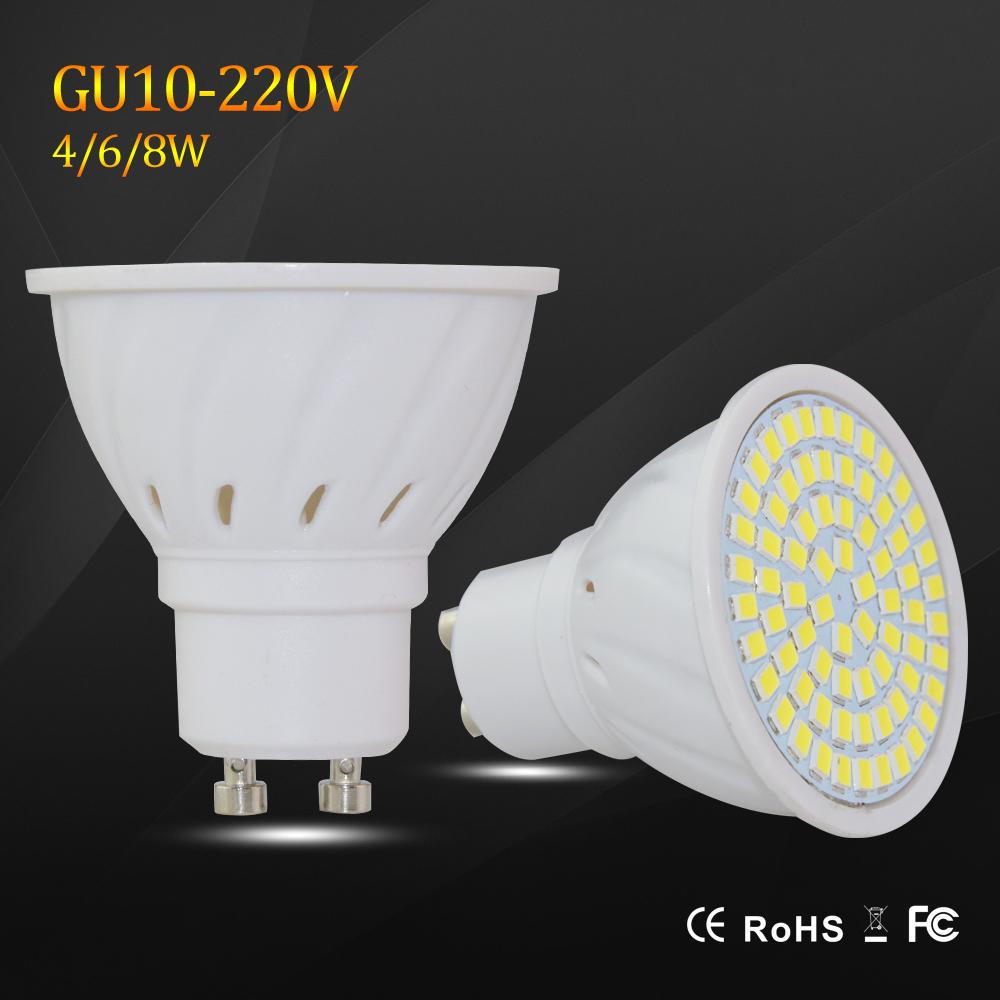 Super Bright 4W 6W 8W GU10 LED Spotlight AC 220V Led Lamp Light Warm White / Cold White / White GU 10 Base Lampada LED Bulbs(China (Mainland))