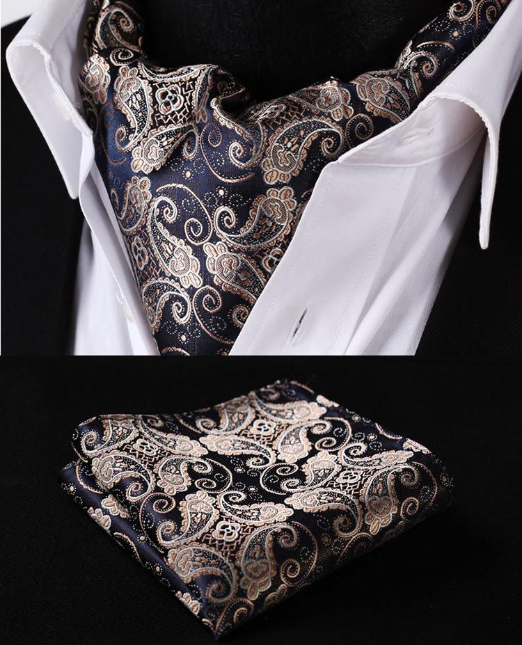 RF301D Gold Navy Blue Paisley Floral Silk Cravat Woven Ascot Tie Pocket Square Handkerchief Suit SetОдежда и ак�е��уары<br><br><br>Aliexpress