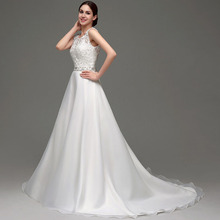 Buy Wedding Dresses 2016 Sleeveless A-line Floor-length Scoop Neck Chiffon Lace Beads Women Bridal Gowns Cheap Stock for $62.30 in AliExpress store