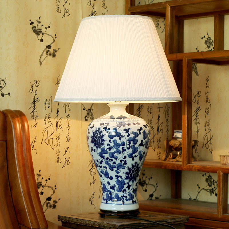 Buy vintage style chinese blue and white for Living room table lamps